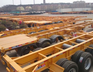 3 Axles Skeleton 40ft Container Semitrailer for sale