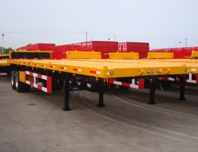 China Kailai 2 Axles Flat Bed Container Semi Trailer for sale