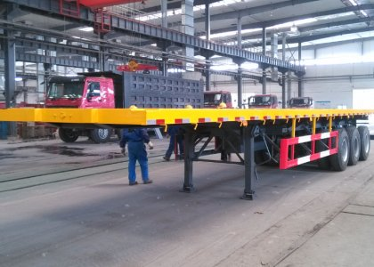 3 Axles 40 feet flat bed container trailer