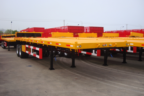 China 2 Axles Flat Bed Container Semi Trailer for sale